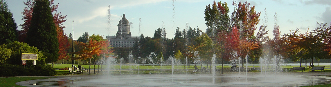 Olympia fountain downtown looking on the capital building