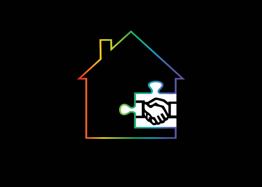 Outline of a home with a puzzle piece inside.